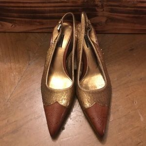 Prada Gold Sequin Leather Pointed Slingback